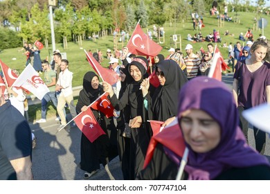 ISTANBUL-TURKEY, 15.07.2017: Supporters of Justice and Development Party (AKP) rally in Istanbul.