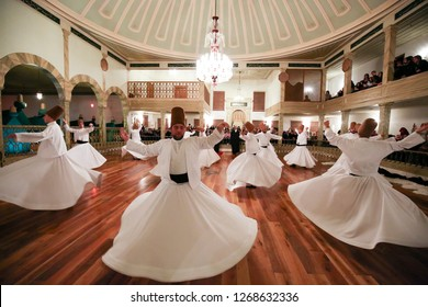 istanbul,Turkey - 17 December 2018 :  Sema of Whirling Dervishes