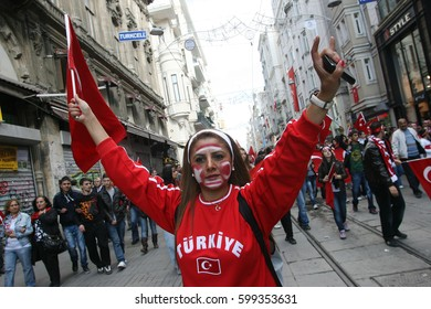 Istanbul,Turkey - 23 October 2011 : The people who protest with the Turkish flag.