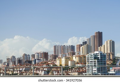 ISTANBUL,TURKEY, 28.03.2015: View of the residential area, high-rise apartment buildings in Istanbul in Turkey