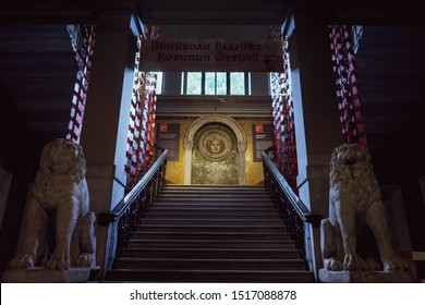 Istanbul/Turkey 30 June 2019 : Istanbul Archaeological Museums Stairs and Lion Statues