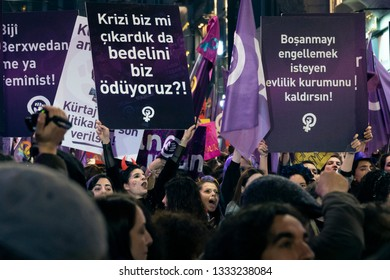 Istanbul/Turkey, 8 March 2019 - International Women's Day at Istanbul/Taxim Square