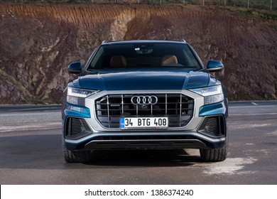 Istanbul/Turkey -April 11 2019 : Audi Q8 is a full-size luxury crossover SUV coupe made by Audi that was launched in 2018. It is the flagship of the Audi SUV line.