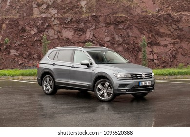 Istanbul/Turkey - April 13 2018 : The Volkswagen Tiguan is a compact crossover vehicle manufactured by German automaker Volkswagen.