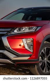 Istanbul/Turkey - April 17 2018 : Mitsubishi Eclipse Cross is a compact crossover SUV produced by Japanese automaker Mitsubishi Motors.  It has unique headlight.