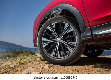 Istanbul/Turkey - April 17 2018 : Mitsubishi Eclipse Cross is a compact crossover SUV produced by Japanese automaker Mitsubishi Motors. It has unique rim design.