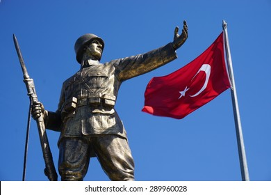 ISTANBUL,TURKEY- APRIL 17: Turkish Soldier Statue on April 17, 2015 in Istanbul. Its located at Istanbul, to commemorate the formation of the Turkish Republic in 1923.