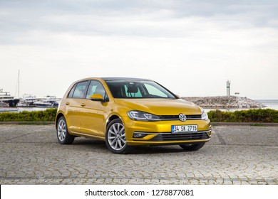 Istanbul/Turkey - April 20 2017 : Volkswagen Golf is a compact car produced by the German automotive manufacturer Volkswagen.