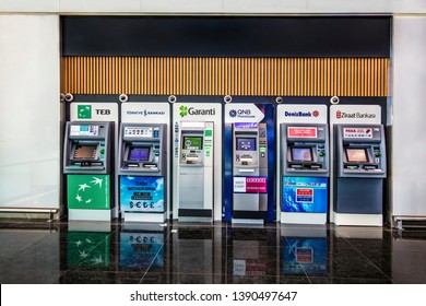 Istanbul/Turkey - April 21, 2019; New Istanbul Airport Terminal. ATMs in the airport waiting room. ATMs of various banks in Turkey.