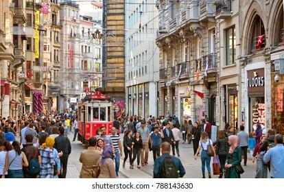 Istanbul,Turkey- April 22: Istanbul nostalgic tramways on Istiklal Avenue on April 22, 2016 in Istanbul,Turkey.