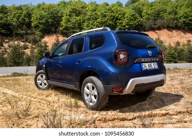 Istanbul/Turkey - April 23 2018 : The New Dacia Duster is a compact sport utility vehicle (SUV). It is produced by the French manufacturer Renault and its Romanian subsidiary Dacia since 2010.