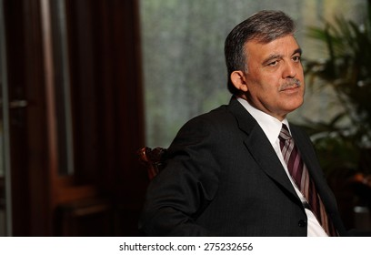 ISTANBUL,TURKEY- APRIL 25, 2011. Turkish president Abdullah Gul poses for a portrait in his office in Istanbul which is called ''Huber Kosk''
