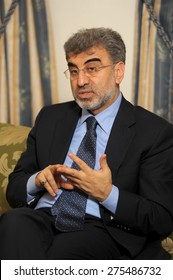 ISTANBUL,TURKEY- APRIL 25, 2011. Turkish minister for energy, Taner Yildiz is answering to questions of journalists