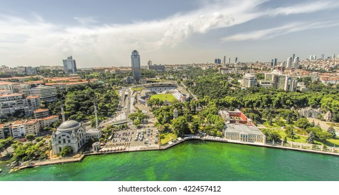 ISTANBUL,TURKEY, APRIL 27, 2012: Aerial view of Dolmabahce and BJK Inonu Stadium which is now replaced by Vodafone Arena at Dolmabahce District of Istanbul, Turkey.