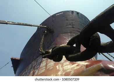 Istanbul,TURKEY - April 29, 2018, An old ship in a repair shipyard