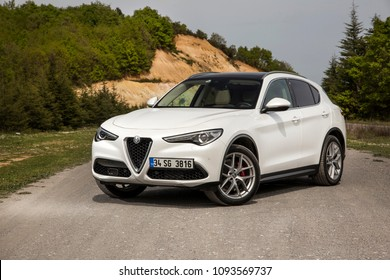Istanbul/Turkey - April 4 2018 : The New  Alfa Romeo Stelvio is the new optimal performance & utility SUV.