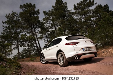 Istanbul/Turkey - April 4 2018 : The New Alfa Romeo Stelvio Quadrifoglio is the new optimal performance & utility SUV.