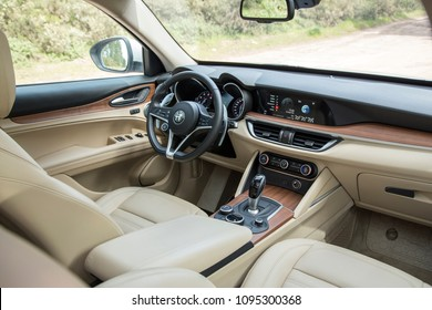 Istanbul/Turkey - April 4 2018 : The New Alfa Romeo Stelvio is the new optimal performance & utility SUV. Alfa Romeo Stelvio 2018 interior close up on driver's seat,  steering wheel and gauges.