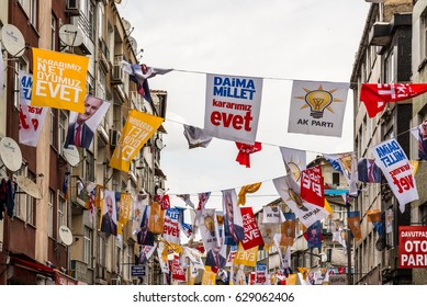 ISTANBUL/TURKEY- APRIL 9,2017: Hang different party flags during a yes referendum /plebiscite campaign rally in the Street near, Yenikapi meeting area, Istanbul,Turkey