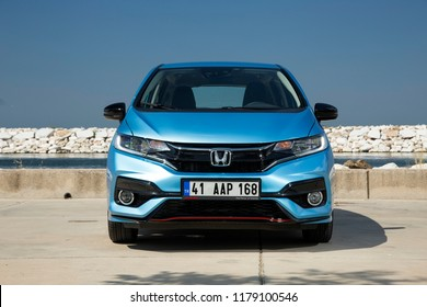 Istanbul/Turkey - August 14 2018 : Honda Jazz is a five-door, front-engine, front-wheel drive B-segment subcompact car manufactured and marketed by Honda.