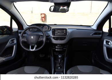 Istanbul/Turkey - August 18 2016 : Peugeot 2008 is a mini sport utility vehicle produced by the French manufacturer Peugeot. The 2008 replaced the Peugeot 207 SW. It has unique interior design.