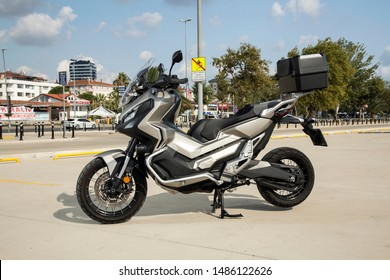 Istanbul/Turkey - August 20 2019 : Honda X-ADV is a crossover styled machine, with strong off-road ability.