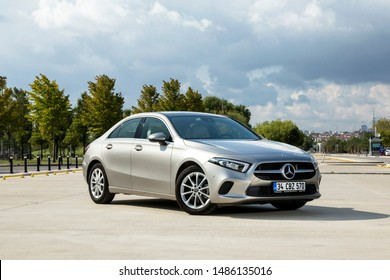 Istanbul/Turkey - August 20 2019 : Mercedes-Benz A-Class is a subcompact executive car (subcompact in its first two generations) produced by the German automobile manufacturer Mercedes-Benz.