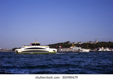 ISTANBUL,TURKEY AUGUST, 4 : Old and New ferryboats of Bosphorus