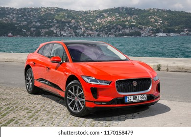 Istanbul/Turkey -August 5 2018 : Jaguar I-Pace is a battery-electric SUV car due to be produced by British automotive company Jaguar Land Rover (JLR) under their Jaguar marque.
