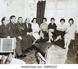 ISTANBUL-Turkey, Circa 1950s: A group of unidentified friends and family has fun together during a  party circa 1950s in Istanbul, Turkey.
