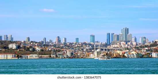 Istanbul/Turkey. City panoramic view, Besiktas town and Bosphorus sea, Ortakoy and cityscape. February 2019