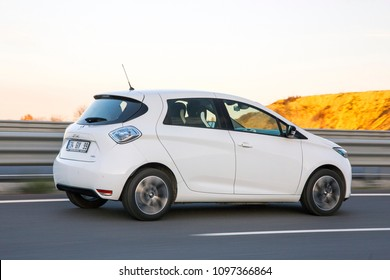 Istanbul/Turkey - December 13 2017 : Renault Zoe is a five-door supermini electric car produced by the French manufacturer Renault.
