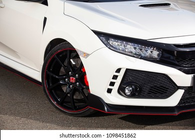 Istanbul/Turkey - December 18 2017 : Honda Civic is a line of cars manufactured by Honda. The design of Type R models was originally focused on race conditions, with an emphasis on minimizing weight.