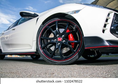 Istanbul/Turkey - December 18 2017 : Honda Civic is a line of cars manufactured by Honda. The design of Type R models was originally focused on race conditions, with a sportive rim.