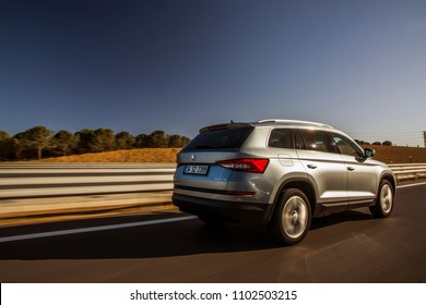 Istanbul/Turkey - December 18 2017 : Skoda Kodiaq is a mid size SUV, manufactured by the Czech automaker Skoda Auto. The vehicle is based on VW Group's modular MQB platform.