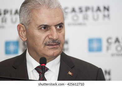 ISTANBUL/TURKEY - DECEMBER 5: Turkish transportation minister Binali Yildirim is talking in the press meeting on december 5 , 2013.
