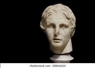 ISTANBUL,TURKEY, DECEMBER 6, 2013: Bust Of Alexander The Great at Istanbul Archeology Museum which houses over one million objects that represent almost all of the eras in world history.