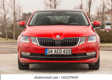 Istanbul/Turkey - February 12 2018 : Octavia is Skoda's most popular model, approximately 40% of all newly manufactured Skoda cars are Octavia.