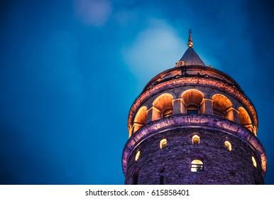 ISTANBUL/TURKEY- FEBRUARY 18,2017: Night view over Galata Tower(Turkish: Galata Kulesi) (Galata Kulesih) Christea Turris is a medieval famous landmark stone tower architecture, in beyoglu, Istanbul.