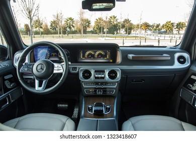 Istanbul/Turkey - February 19 2019 : Mercedes-Benz G500 is a four-wheel drive luxury SUV.