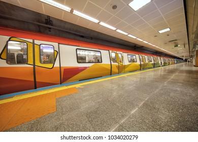 Istanbul,Turkey - February 24, 2018; From the districts of Istanbul, Kadikoy, Pendik Metro line Kozyatagi station. The first subway line of Anatolian side.