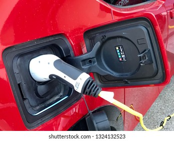 Istanbul,Turkey- February 26 ,2019:Electric car charger. Power supply electric car charging for electric car technology transportation in the future