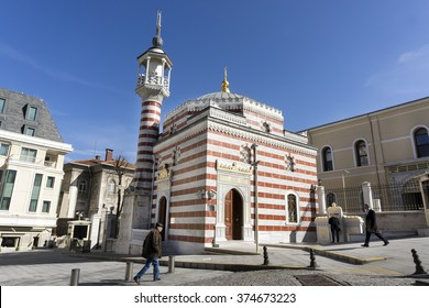 ISTANBUL,TURKEY, FEBRUARY 9,2016: Exterior shot of Nalli Mescid (Vilayet Camii) next to the Governor's Office Of Istanbul, Turkey.