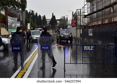 ISTANBUL,TURKEY- JANUARY 02:Turkish police officer watches near the Reina nightclub 39 people were killed in the nightclub in the New Year's Eve terrorist attack  on January 02 2107 in Istanbul Turkey