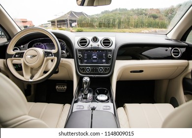 Istanbul/Turkey - January 10 2018 : Bentley Bentayga is a front-engine, all-wheel drive, five-door luxury crossover SUV marketed by British car manufacturer Bentley. It has elegant interior design.
