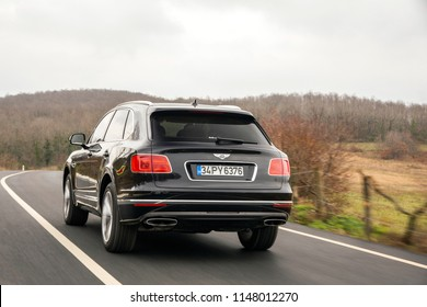 Istanbul/Turkey - January 10 2018 : Bentley Bentayga is a front-engine, all-wheel drive, five-door luxury crossover SUV marketed by British car manufacturer Bentley.