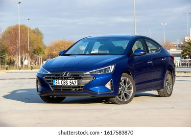 Istanbul/Turkey - January 16 2020 : Hyundai Elantra or Hyundai Avante  is a compact car produced by the South Korean manufacturer Hyundai.