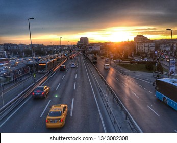 ISTANBUL,TURKEY- January 18,2019: Heavy evening traffic. Bakırkoy District in Istanbul city