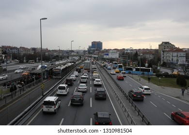 ISTANBUL,TURKEY- January 21,2019: Heavy evening traffic. Bakırkoy District in Istanbul city