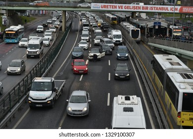 ISTANBUL,TURKEY- January 21,2019: Heavy evening traffic. Bakırkoy District in Istanbul city -